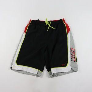 f42ef02693 Nike Mens Medium Spell Out Swim Trunks Black Red